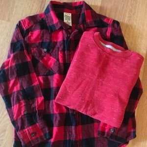 Flannel and Long-sleeve Set, size 7-8